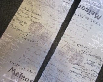 French Inspired Ribbon, French Script Trim, Wide Trim, French Trim, Vintage Inspired Ribbon, Blue Grey Trim, Vintage Paris Market Trim, ECS