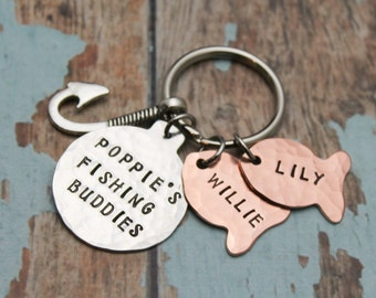 Personalized Fisherman Keychain, Fish Key Chain, Daddy's Fishing Buddies Key Chain, Handstamped, Personalized Gift, Great Father's Day Gift