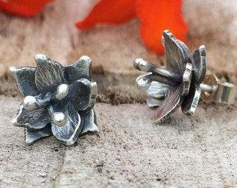 Lily Stud Earrings; Handmade Sterling Silver