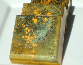 Monster Skin Soap - Halloween Soap - Science Fiction Horror Show Soap - Green and Orange Soap - Exfoliating with Poppy Seeds - Bar Soap