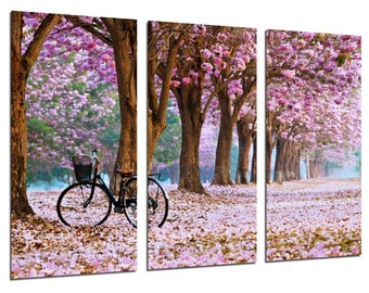 Modern photographic picture path forest in autumn, Rose Flower Trail, 97 x 62 cm, ref. 26469