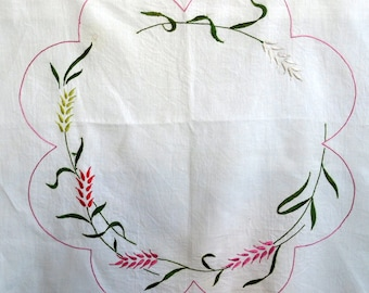 Pre-worked Vintage Tablecloth - Craft/Upcycle - Embroidered Wheat Sheaves in Pinks and Greens