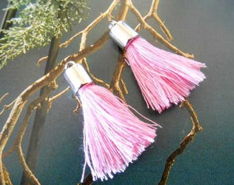 x 2 tassels pendants charms pink and silver.