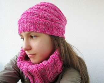 Girly pink knitted cowl, ribbed soft cowl