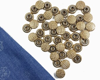 Small Metal Gold Compression Rivets, Rapid Studs, Accessories Leather crafts,Purse & Bag Making Supplies 30 PCS