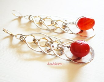 Red stone hammered chain dangle earrings