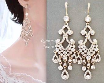 Yellow gold chandelier earrings Crystal Chandelier Wedding earrings 14k gold wires Brides Long earrings Gold Bridal Jewelry  ABRI