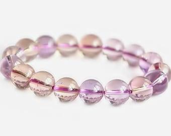 Delicate 10mm Ametrine Bracelet, Purple Stone Bracelet, Bead Bracelet Women, Ametrine Jewelry, Ametrine Crystal Bracelet, Ametrine Beads