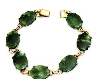 WRE Signed Jade 12K Gold Filled Bracelet