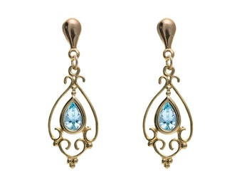9ct Yellow Gold Victorian Design Blue Topaz Drop Earrings