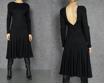 black wool cut out back pleated  midi dress  S M