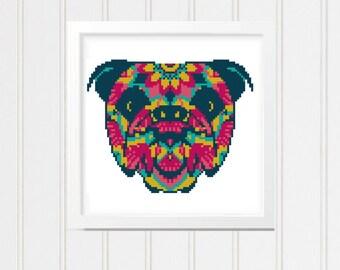Mandala cross stitch pattern, dog cross stitch, cross stitch chart, mandal bulldog, dog cross stitch,  mandala cross chart 017-019