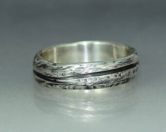 A handmade  Textured Hammered Silver Wedding Band Rustic Organic Mans ring Womans Ring