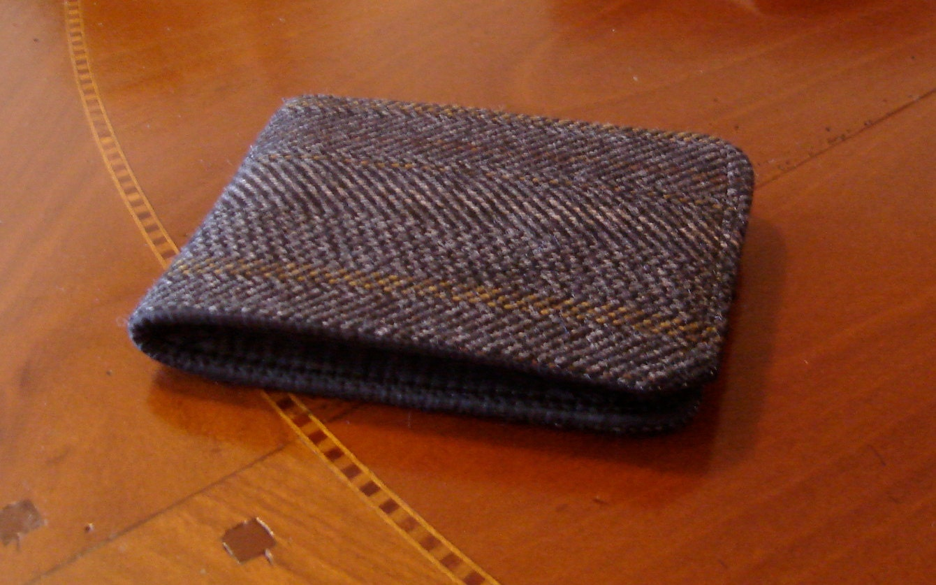 Mens wallet Minimalist black Herringbone Wool Billfold 7 Pocket Bifold Slimline bifold