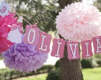 Princess .. 7 Tissue Paper Poms .. Wedding Decoration .. Birthday .. Bridal Shower