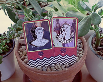 Twin Peaks Enamel Pin Set // laura palmer, fbi special agent dale cooper, trading card,