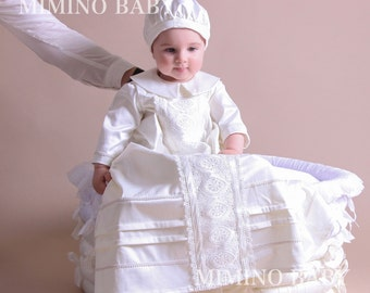 ELISEY Christening Gown, Baptism Gown, Boy Christening Outfit, Long Christening Gown, Heirloom Christening Gown, Boys Christening Outfit