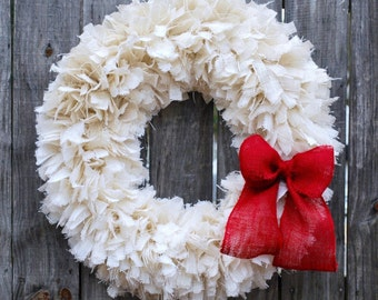 "36"" Christmas Rag Wreath, Christmas Burlap Wreath, White Burlap Rag Wreath, Rustic Christmas Wreath, Country Christmas Decor"