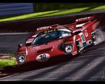 Automotive Art Red Ferrari : 8x12 Metallic Print