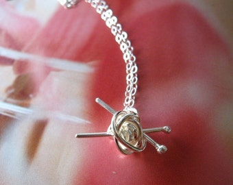 Knit me something sterling silver necklace - gift for knitter, knitting necklace, for the love of knitting
