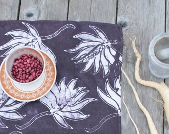 deep earth purple linen batik tea towel