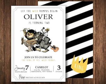 Modern Where The Wild Things Are Invitation; digital file, printable
