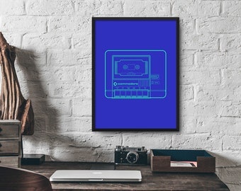 Commodore Computer C64 VIC20 1530 Cassette Tape Drive Poster Art Print