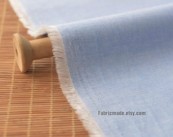 Light Denim Blue Solid Plain Chambray Cotton Linen Fabric For Shirts Clothing - 1/2 yard