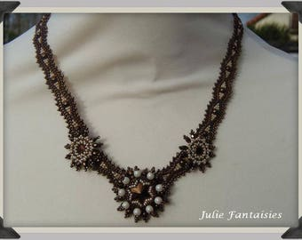 Chocolate Pearl Necklace and cream (hand woven necklace)