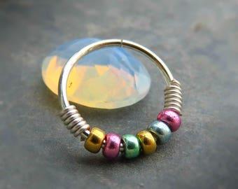 Beaded Tragus Earring, Silver Nose Hoop, beaded nose ring hoop - nose hoop 20g