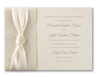 Ecru Wedding Invitations, Filigree And Satin Detail, Silver Thermography Printed, Inner / Outer Ecru Envelopes Included