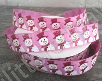 "7/8"" Red Glitter Snowmen on Hot Pink Grosgrain Ribbon"