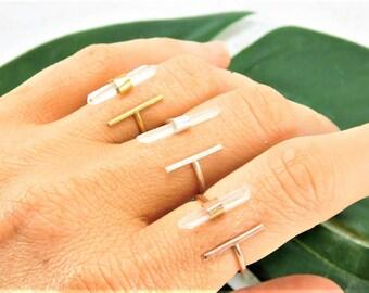 Crystal Quartz Ring, Crystal Bar Ring, Gold T Bar Ring, Raw Quartz Ring, Gold Parallel Bar Ring, Double Bar Ring, Raw Gemstone Ring