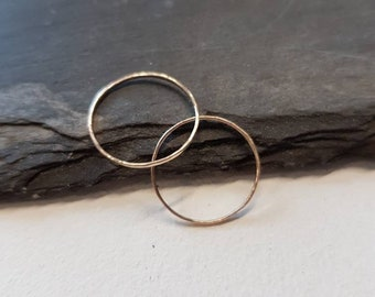 Thin 9ct White Gold Ring   1mm Thin White Gold Band   Hammered or Smooth   thin Band Ring White Gold