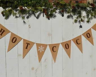 Hot Cocoa  banner  ..   Photo prop  ..  Christmas Banner  ..  Holiday ..  Winter