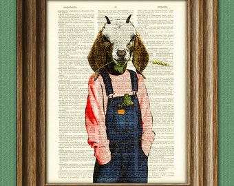 The Goat Kid lives on a farm illustration beautifully upcycled dictionary page book art print