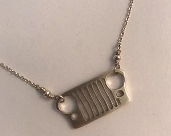 Jeep Willys Grill Sterling Silver Necklace, Jeep Necklace, Jeep Jewelry, Jeep Grill Pendant