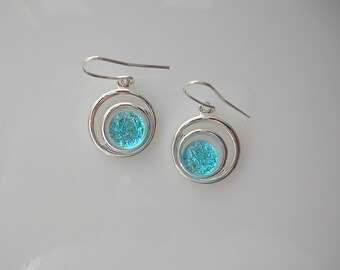 Aqua Blue Fused Glass Earrings Dichroic Glass Dangle Earrings Dichroic Jewelry Fused Glass Jewelry
