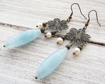 Chandelier earrings, rustic earrings, sky blue jade earrings, dangle earrings, bronze earrings, vintage style jewelry, gift for her, bijoux