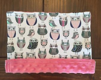 Lovey Minky Blanket / Doll Blanket - Owls
