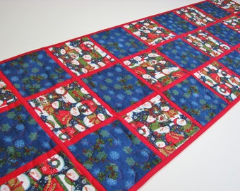 """Christmas Quilted Table Runner, Snowman Table Runner, Snowflake Table Mat, Winter Table Mat, Blue Red Patchwork, 13""""x48"""", Quiltsy Handmade"""