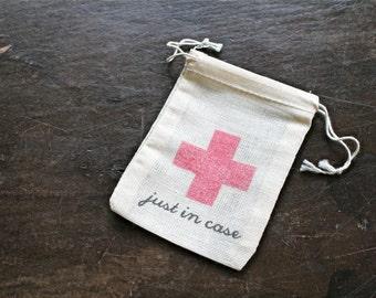 Wedding favor bags, cotton Hangover Kit bag, Just in Case, wedding favor, bachelor or bachelorette party, hotel welcome bag, cloth favor bag