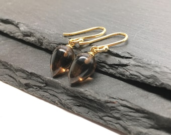 Smoky Quartz Earrings , Tear Drop Earrings , Gray Earrings , Gemstone Drops , Brown Earrings , Dangle Earrings , Gift For Her , Amy FIne