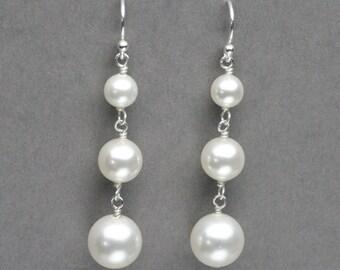 Pearl Drop Earrings, Bridal Wedding Earrings, Pearl Dangle Earrings, Pearl Bridal Jewelry, Triple Pearl Drop Earring, Wedding Earrings