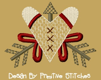 MACHINE EMBROIDERY-Heart with Arrows-4X4-Fill-Instant Download
