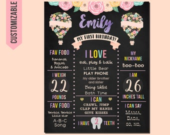 Hot Air Balloon First Birthday Poster, Hot Air Balloon 1st Birthday Sign Pink Gold Balloon First Birthday Chalkboard Floral Ballon Party