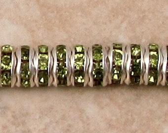 Bead, Silver Rhinestone Rondelle Spacer, 6 mm, Olivine Green, 12 Pc. C471