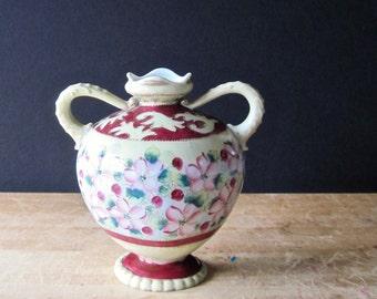 Antique Nippon Vase, Antique Nippon Urn, Footed Vase, Nippon China, Magenta Pink Floral Vase, Dogwood Design, Hand Painted Moriage