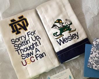 Baby burp cloth set with favorite team logo