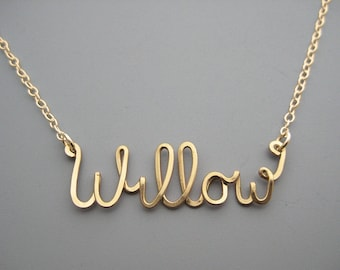 Gold Filled Name Necklace - personalized cursive word with delicate chain, custom script wire, gift for mom